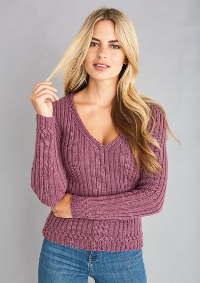 Easy Knitting Patterns for Women's Sweaters rib stitch