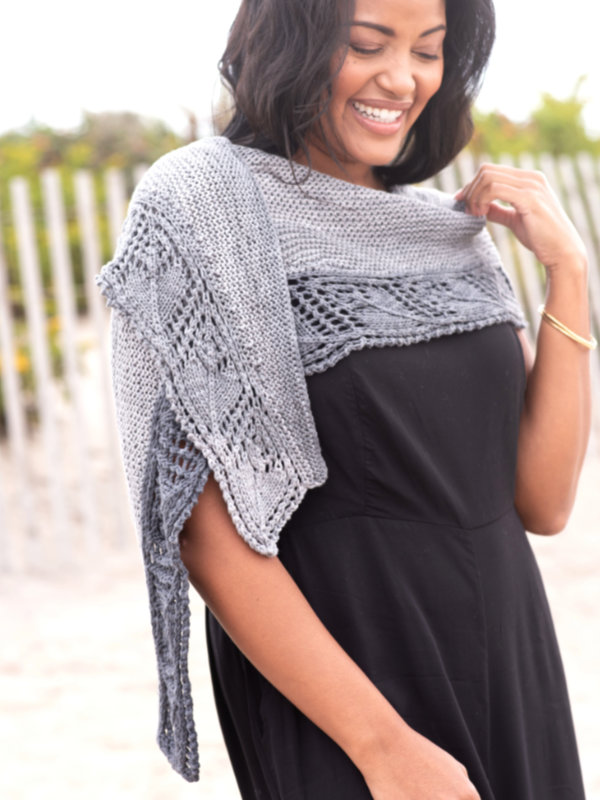 Free Knit Pattern for a Leaf Lace Border Summer Shawl