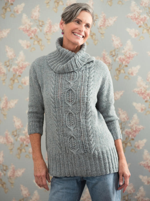 Free Knit Pattern for a Turtleneck Sweater with a Central Cable Pattern