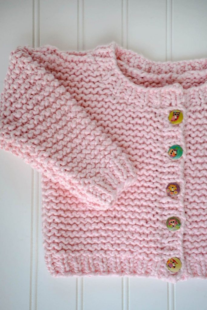 Free Knit Pattern for an Easy Garter Stitch Cardigan for Babies