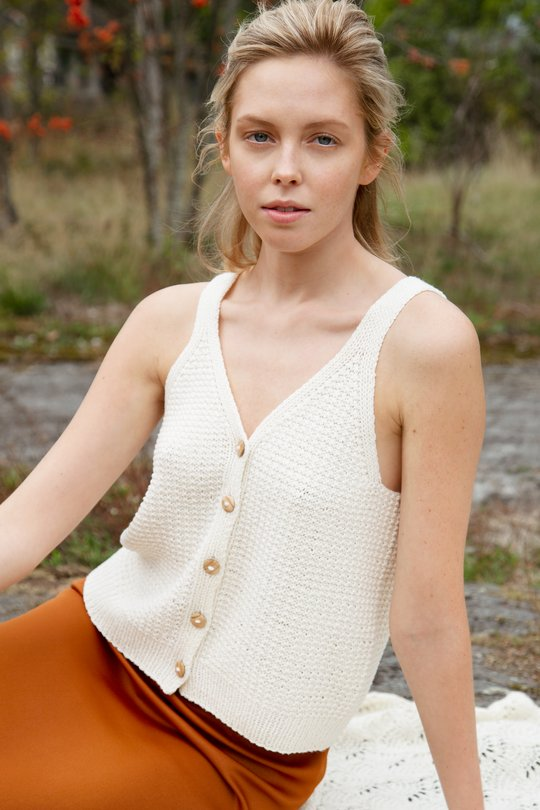 Free Knitting Pattern for a Button Up Summer Top