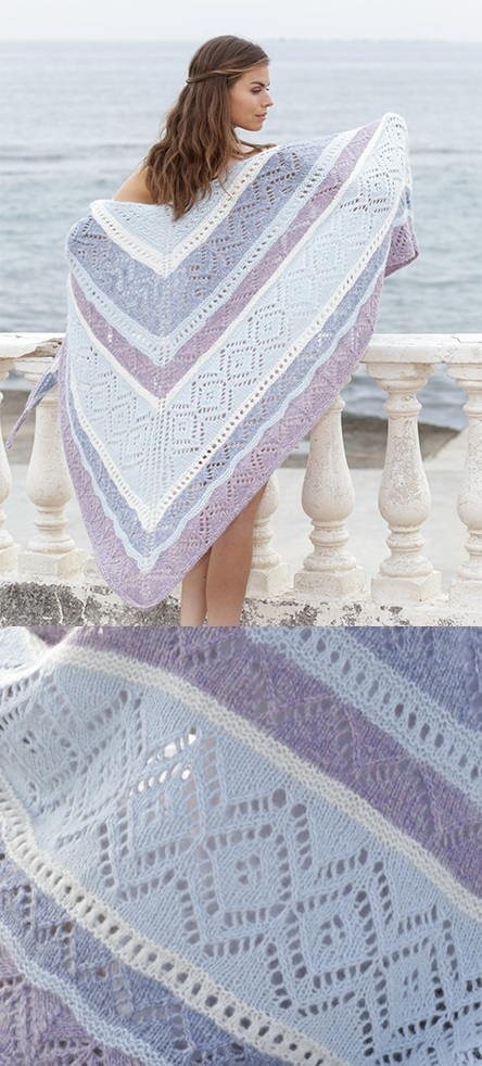 large triangle shawl knitting pattern in colorful stripes with lace details