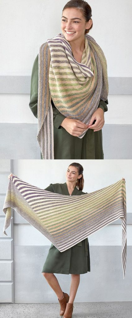 Free Knitting Pattern for a triangle Stripes Shawl