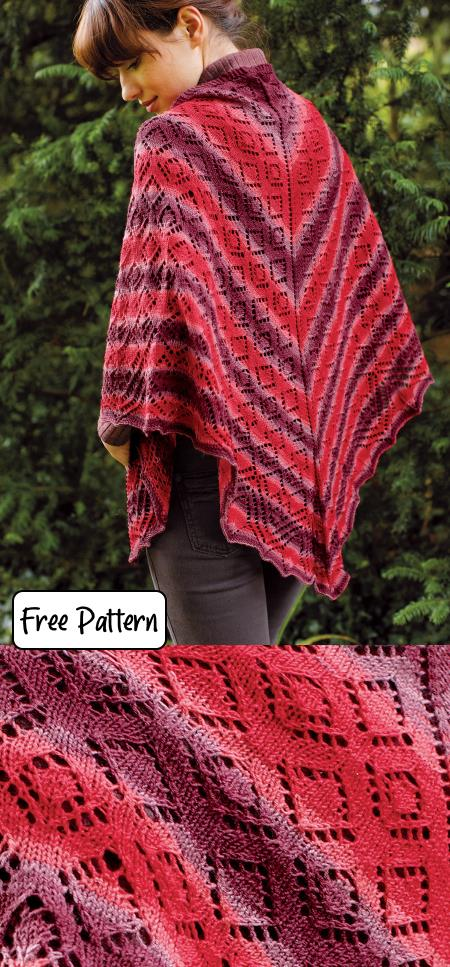 Free Triangle Shawl Knitting Patterns in lace