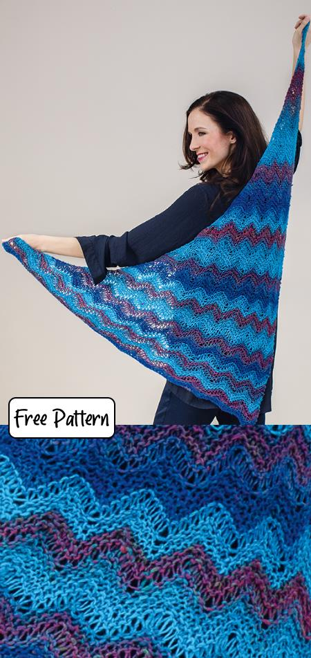 Free Triangle Shawl Knitting Patterns in ripple stitch
