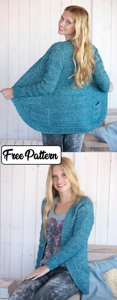 Free easy cardigan knitting pattern for women with rounded edges, a textured striped stitch and pockets.