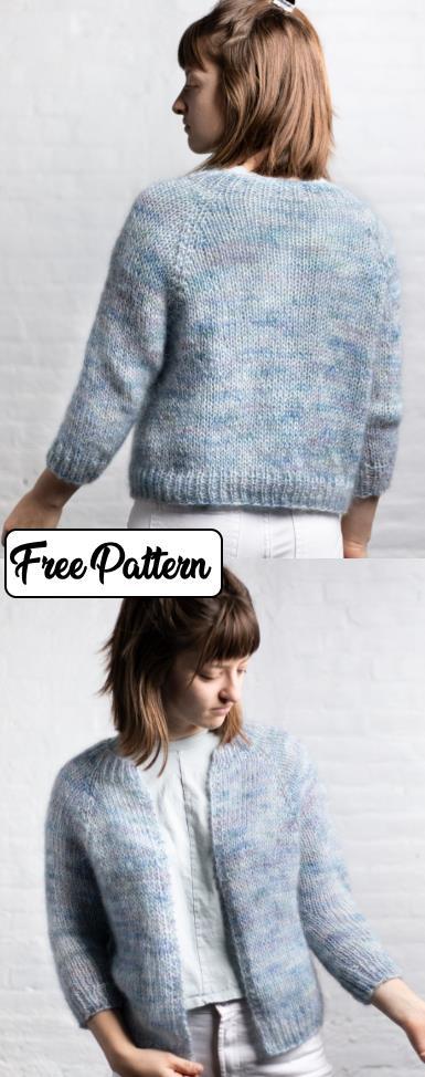 Free easy knitting pattern for a raglan sleeve cardigan