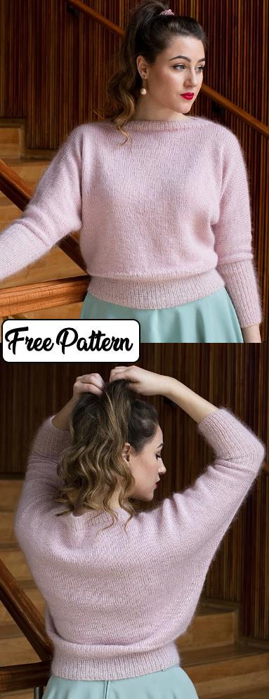 Free knit pattern for an easy retro sweater. Boat neck sweater in stockinette stitch with rib stitch edge and three quarter sleeves.