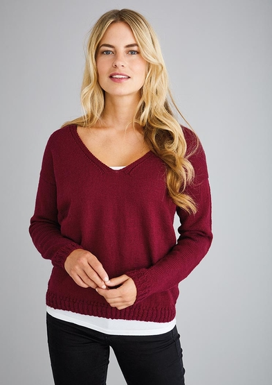 Free knit pattern for an easy v neck sweater for women