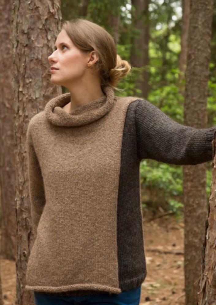 Free knitting pattern for a draped cowl neck sweater