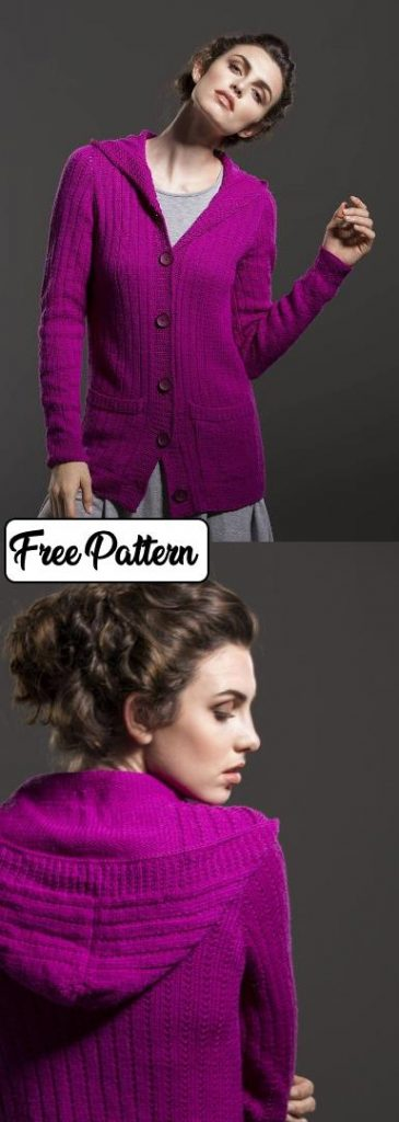 Free knitting pattern for a long cardigan with a hood