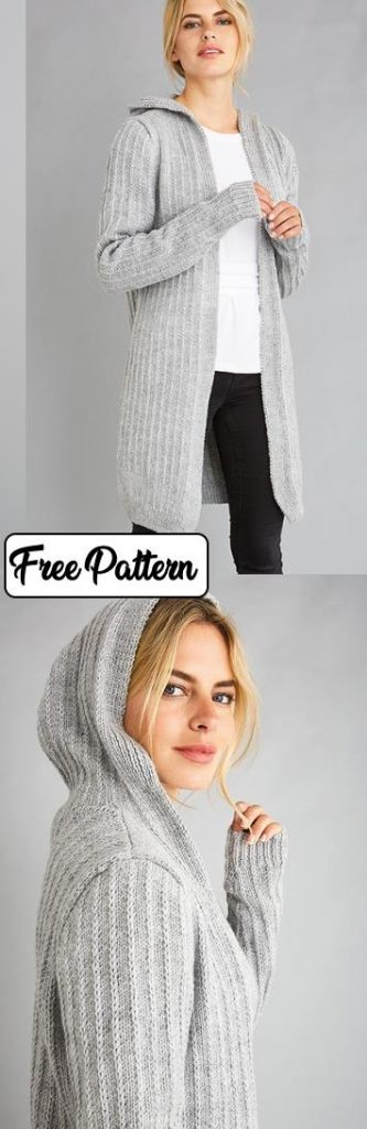 Free knitting pattern for a long hood cardigan