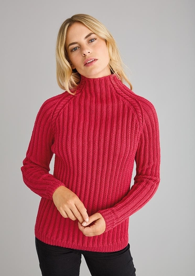 Free knitting pattern for a roll neck sweater easy