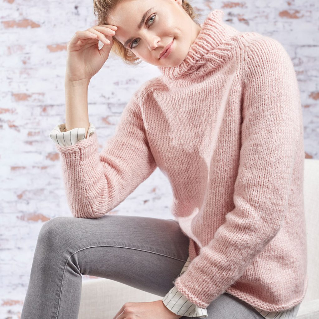 Free knitting pattern for a roomy and relaxed turtleneck. Go with everything sweater for women with a high ribbed turtleneck.