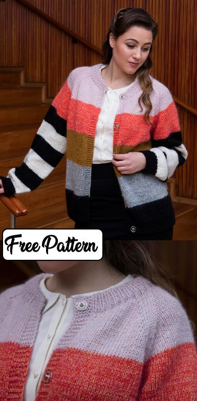 Free knitting pattern for a striped cardigan easy