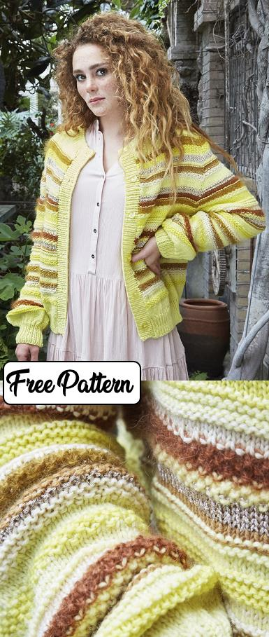 Free knitting pattern for a striped easy cardigan