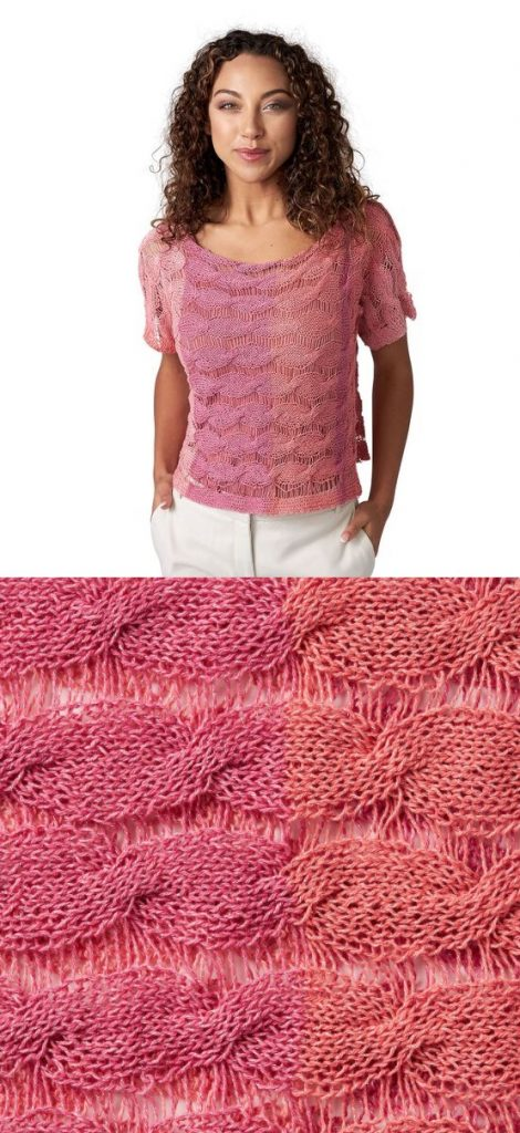 Free knitting pattern for a summer cable tee