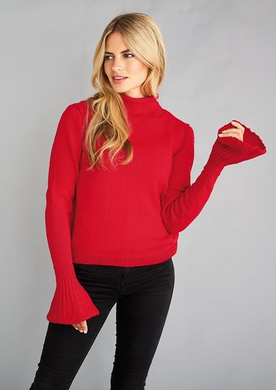 Free knitting pattern for a sweater with bell sleeves