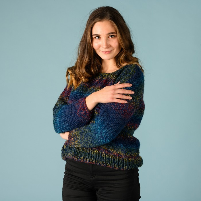 Free knitting pattern for an easy sweater with variegated yarn. Free knit patterns for easy sweater's for women. stockinette stitch pattern.