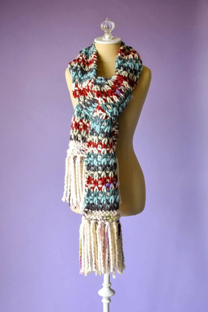 Free Knitting Pattern for a Kaleidoscope Scarf