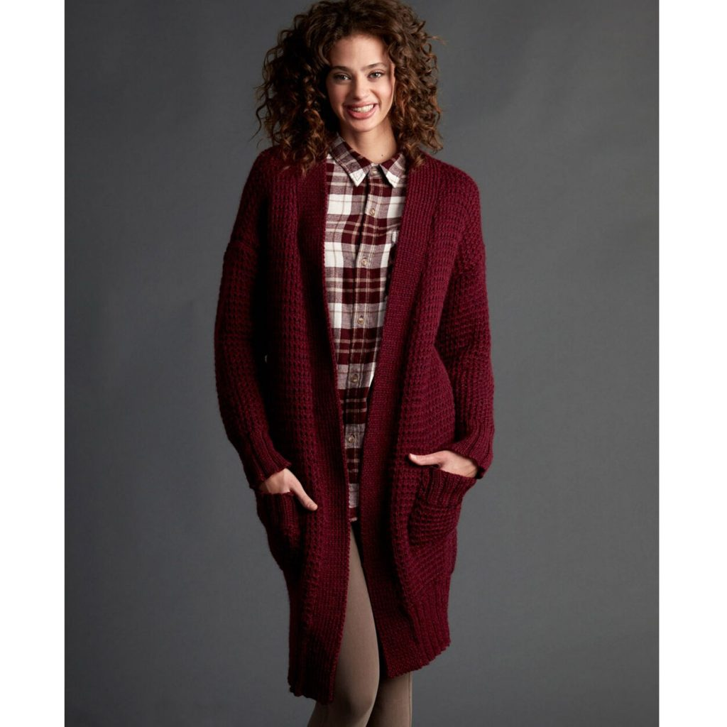 Patons long and cozy knit cardigan pattern free