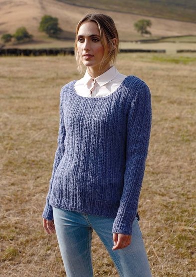 round-neck design with rib and cable