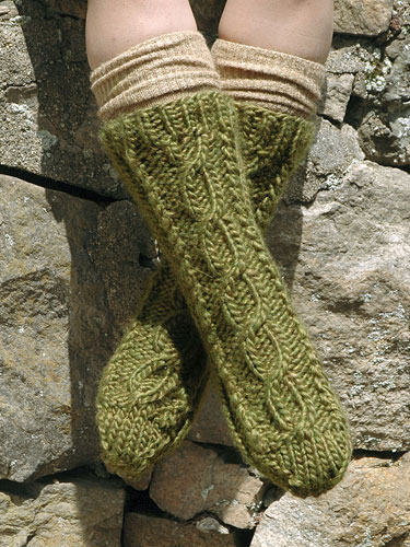Central Cable sock knitting pattern