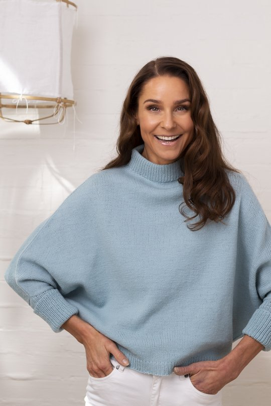 Free Knit Pattern for a Polo Neck Merino Comfy Sweater for Women