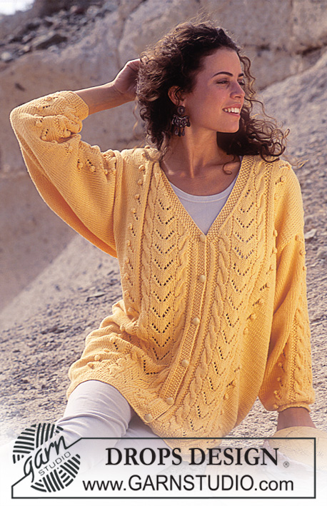 Free Knit Pattern for a V-Neck Lace and Bobbles Cardigan