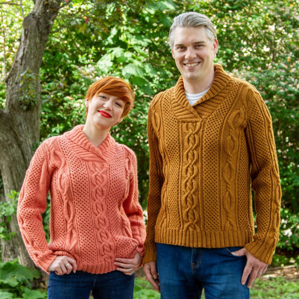 Free Knitting Pattern for His Hers Aran Pullover