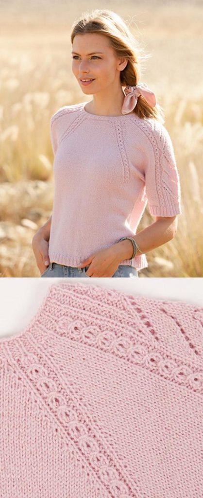 Free Knitting Pattern for Spring Surrender Raglan Top