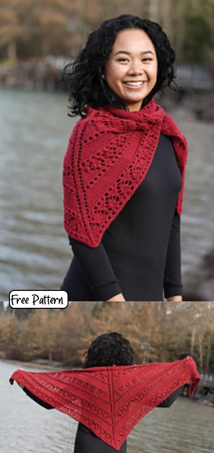 Free Knitting pattern for a lace triangle shawl