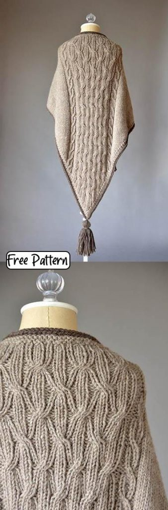 Free knitting pattern for a cabled triangle shawl