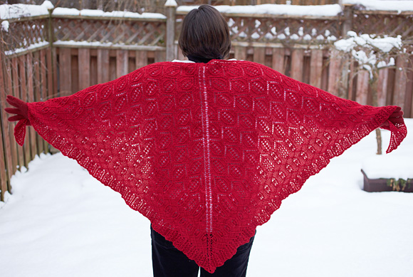 Free knitting pattern for a japanese triangle shawl