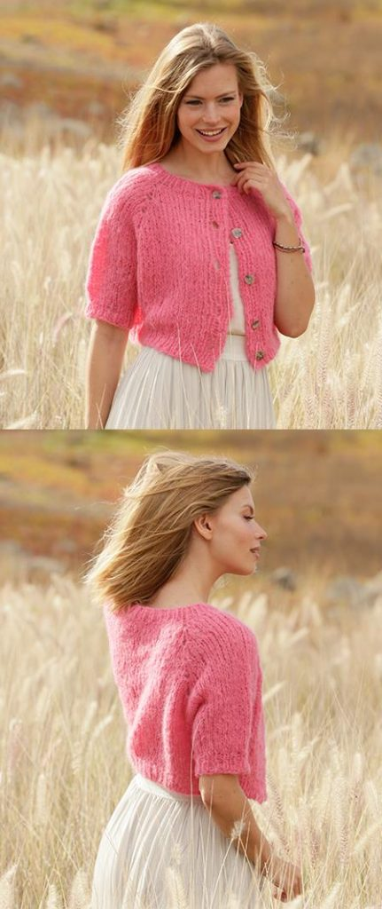 Free knitting pattern for a short sleeve cardigan