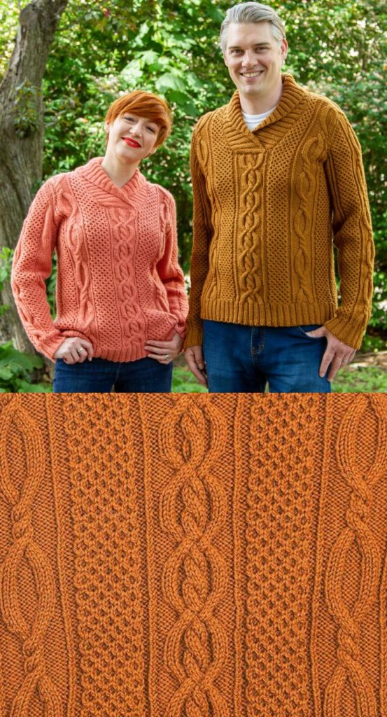 Free knitting pattern for shawl color cable aran sweater for men and women