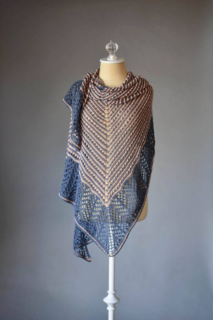 Lace triangle shawl free knitting pattern