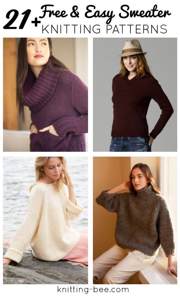 21 easy sweater knitting patterns for women, free.