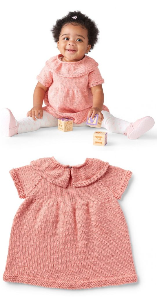 Free Knit Pattern for a Baby Ruffle Dress 6 to 24 Months
