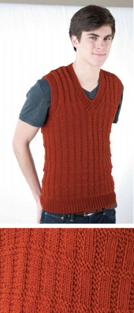 Free Knit Vest Patterns for Adults Men vneck