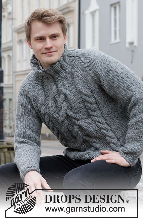 Free Knitting Pattern for a Cable Raglan Sweater for Men