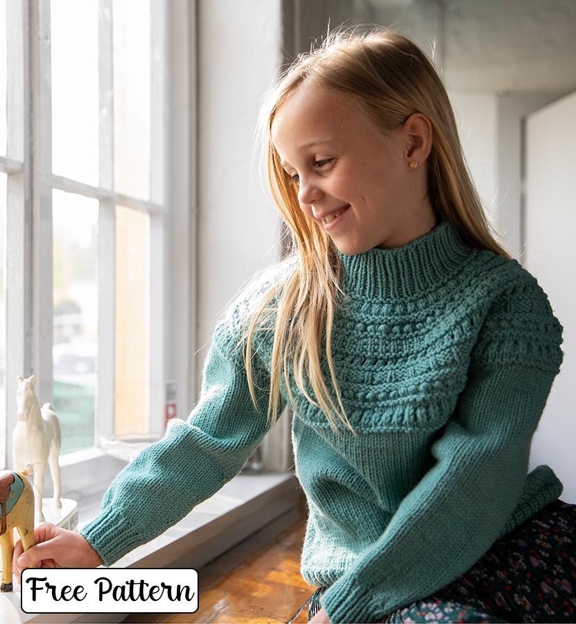 Free high neck textured yoke sweater knit pattern for kids