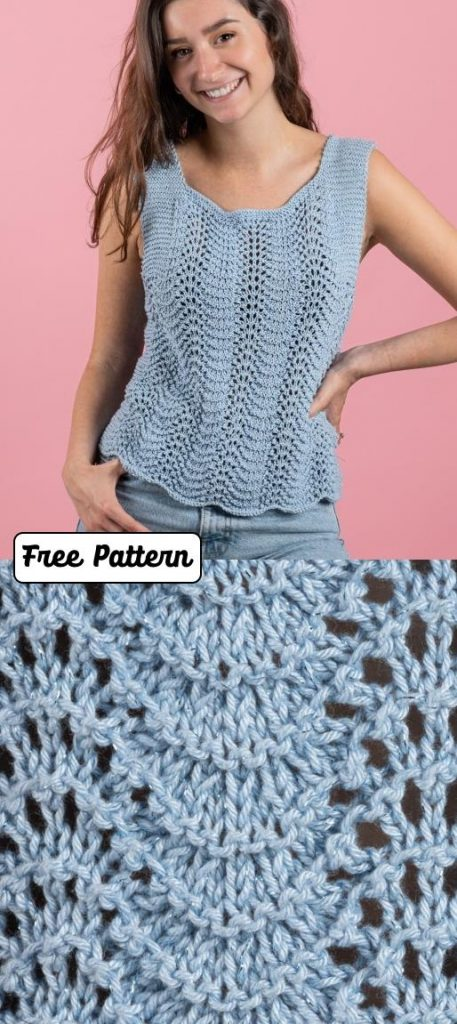Free knit pattern for a feather and fan top