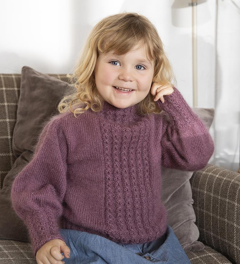 Free knit pattern for girls sweater with ballono sleeves