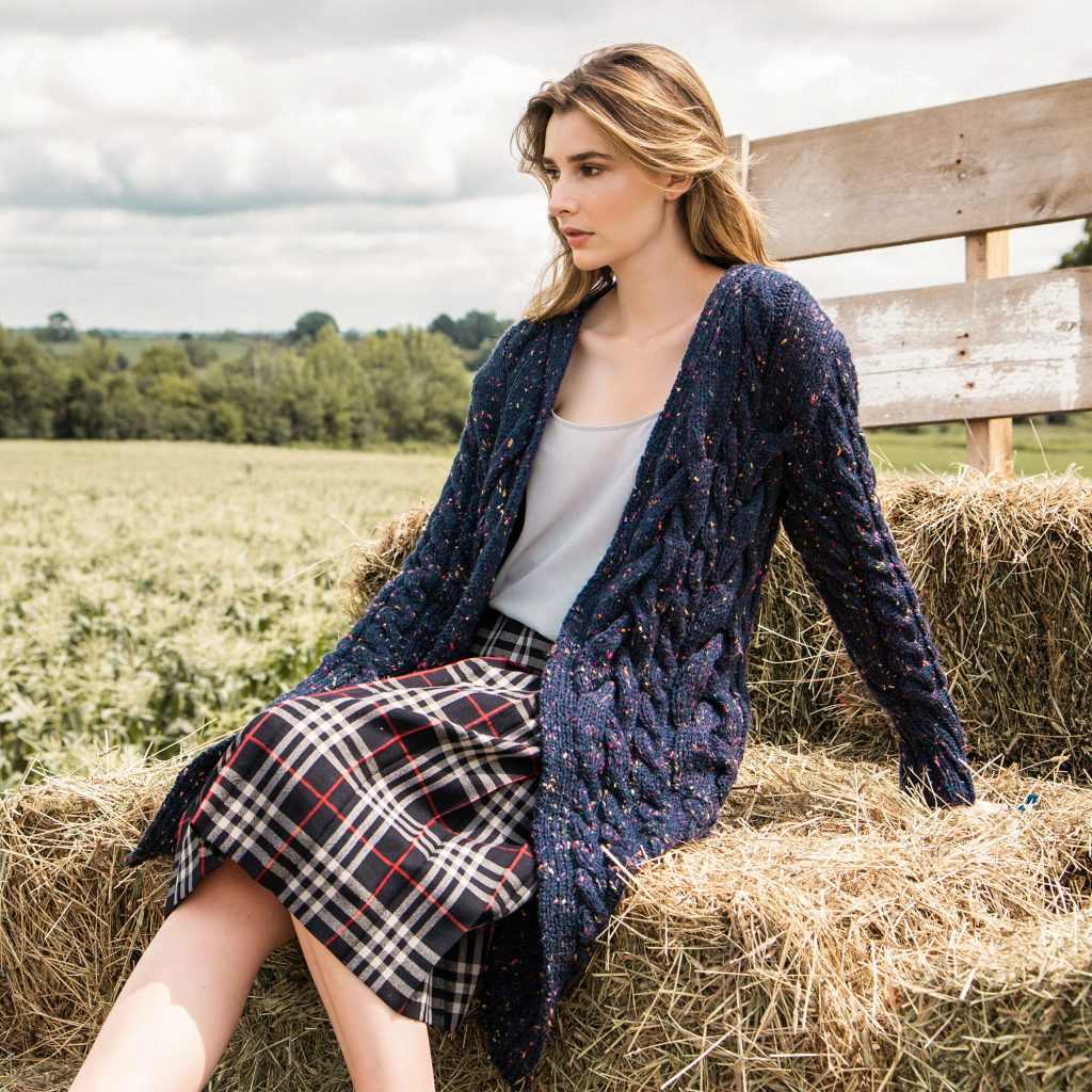 Free Knitting Pattern for a Cabled Coat