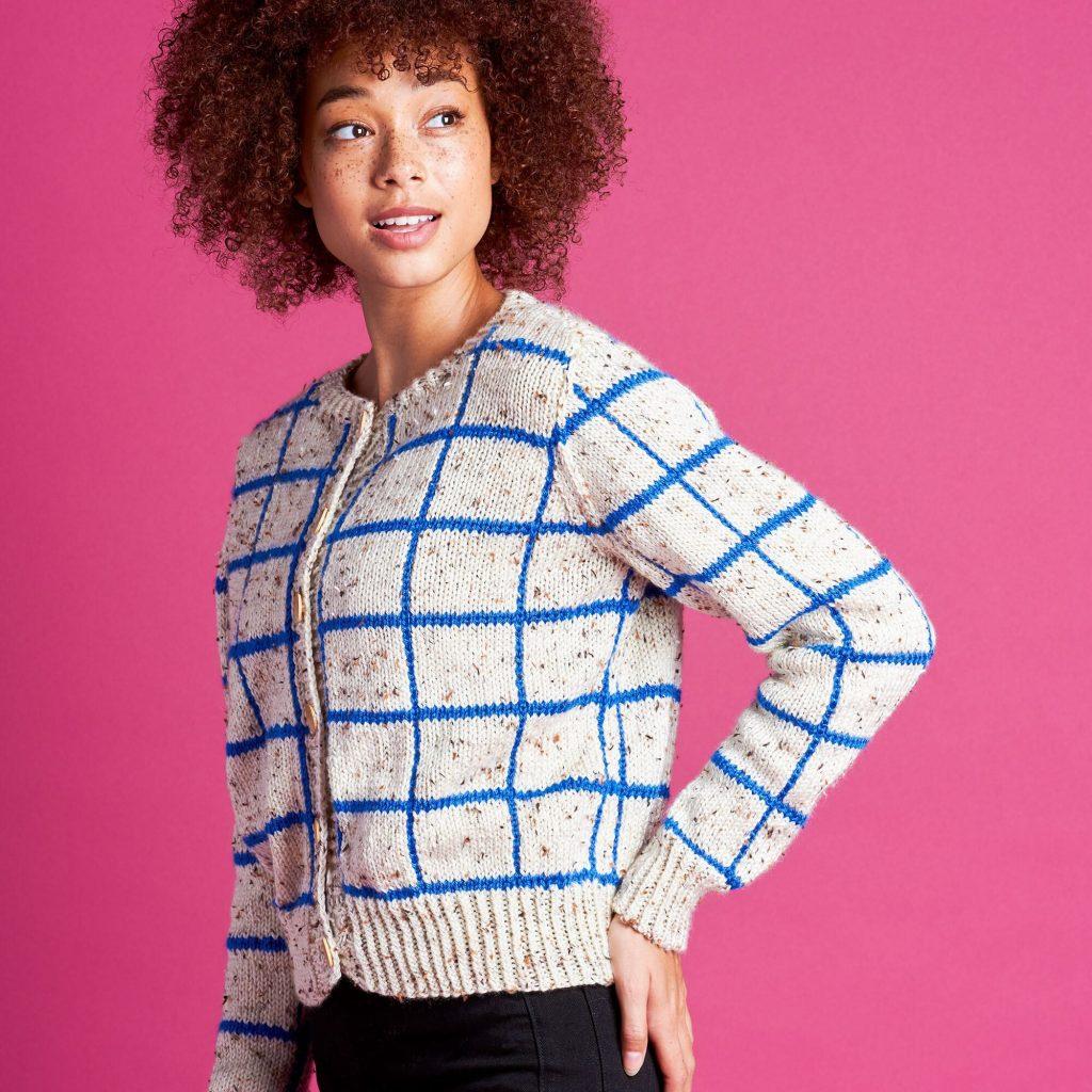 Free Knitting Pattern for a Windowpane Cardigan