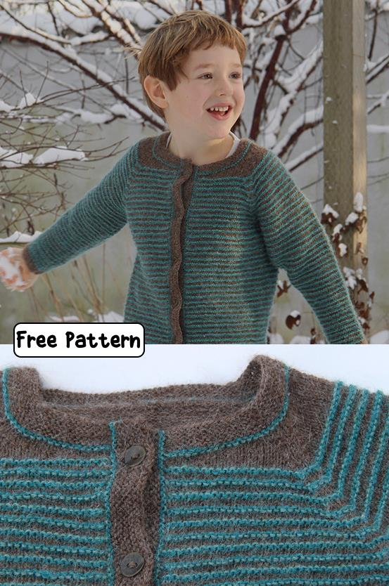 Free knit pattern for a boys cardigan
