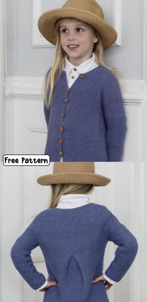 Free knit pattern for a girls cardigan