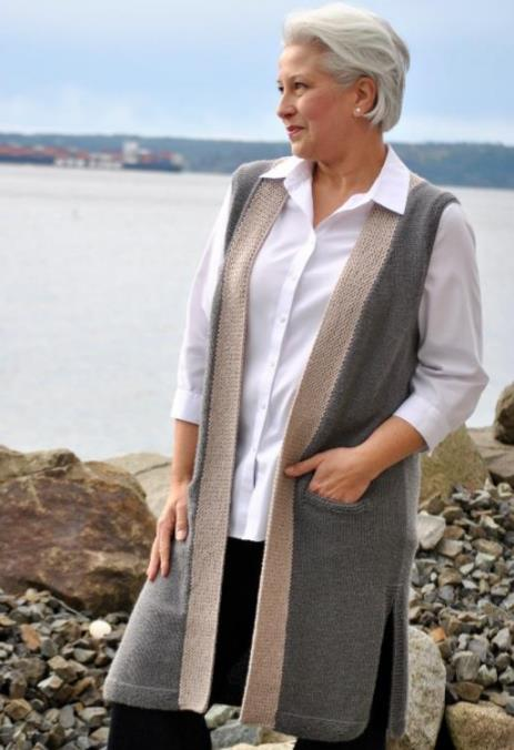 Free knit pattern for a women's knee length vest