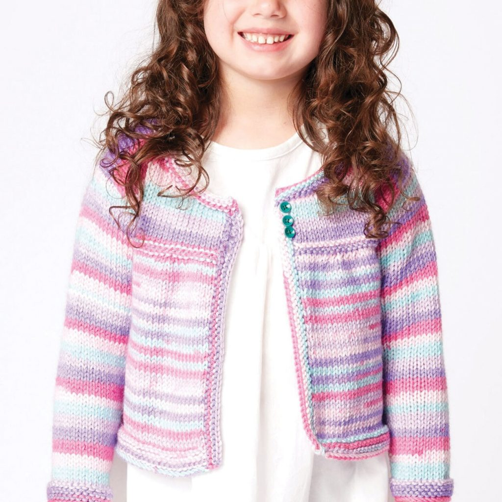 Free knitting pattern for a girls cardigan 2 8 years